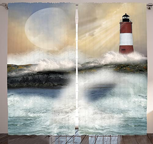 Ambesonne Lighthouse Curtains, Oil Painting Style Artwork of Stormy Sea Splashing Waves Moon and Lighthouse, Living Room Bedroom Window Drapes 2 Panel Set, 108 X 84 , Ivory Blue