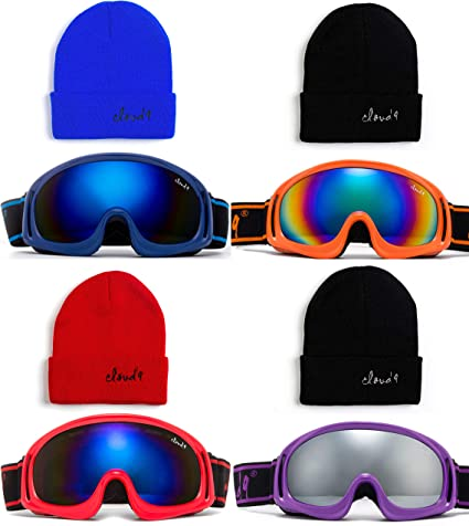 Kids Snow Ski Goggles Beanie Snowboard Winter Youth Boys Girls Anti Fog UV Lens