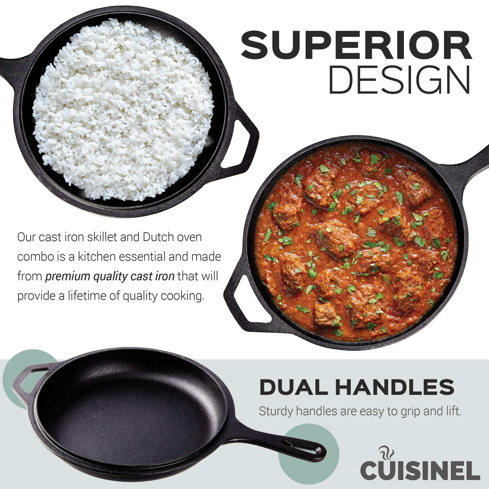 Pre-Seasoned Cast Iron 2-In-1 Multi Cooker | 3-Quart Dutch Oven and Skillet Lid Set Oven Safe Cookware | Use As Dutch Oven and Frying Pan | Indoor and Outdoor Use | Grill, Stovetop, Induction Safe by cuisinel (Image #4)