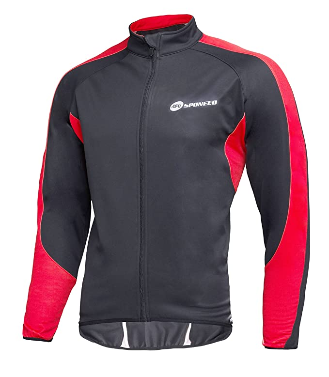 Amazon.com   sponeed Men s Wind Jackets Cycling Fleece Coat Shirts Winter  Windproof Thermal Bicycle Bike Clothes   Sports   Outdoors ed3efba25
