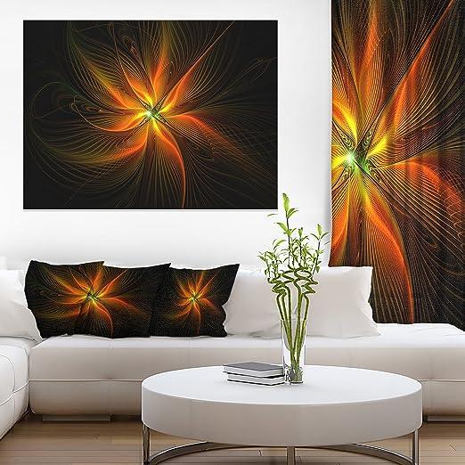 Amazon Com Designart Pt12173 20 12 Shiny Golden Yellow Fractal Flower On Black Floral Canvas Artwork Print 12 H X 20 W X 1 D 1p Gold Posters Prints
