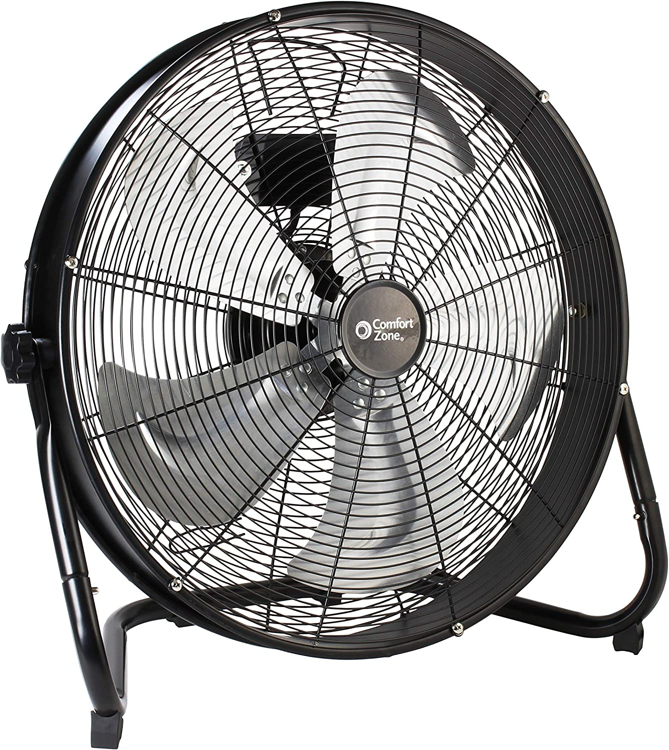 Comfort Zone CZHV20S High-Velocity Industrial 3-Speed Black Slim-Profile Drum Fan with Aluminum Blades and Adjustable Tilt 20