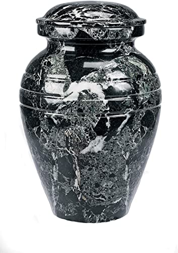 Star Legacy Classic Ebony Grain Large Marble Vase Adult Funeral Cremation Urn for Human Ashes