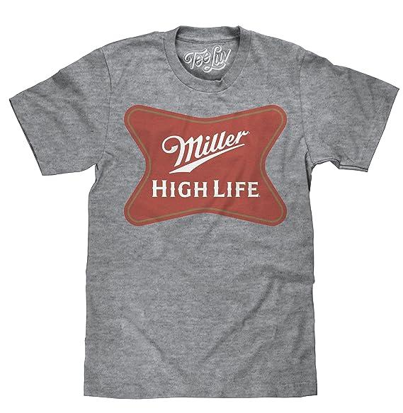 7200e6532e601 Amazon.com  Tee Luv Miller High Life Shirt - Miller Beer Logo T ...
