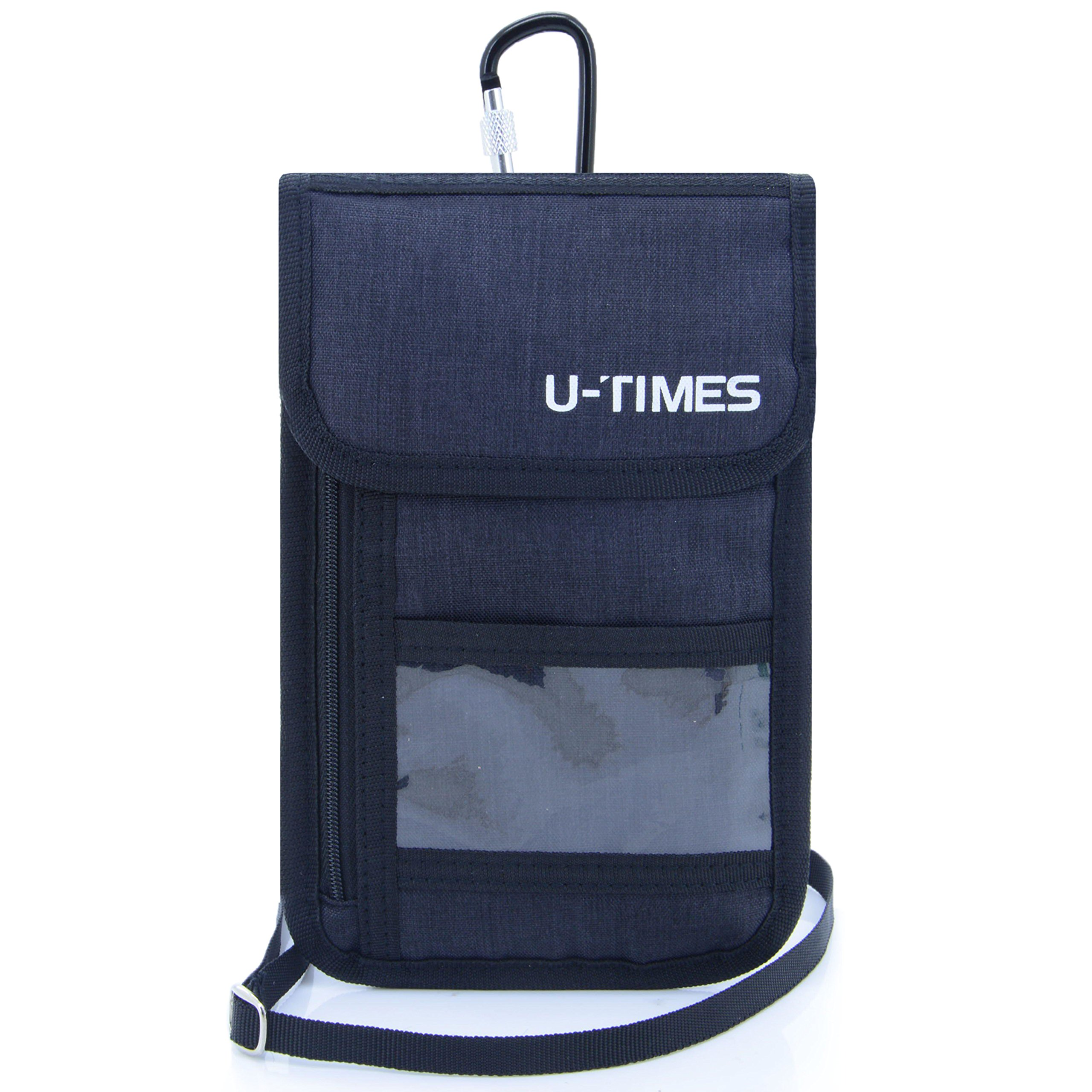 UTIMES Travel Passport Neck Bag RFID Blocking Cell Phone Wallet Pouch With Additional Carabiner-Ultra Slim & Light Weight(Black)