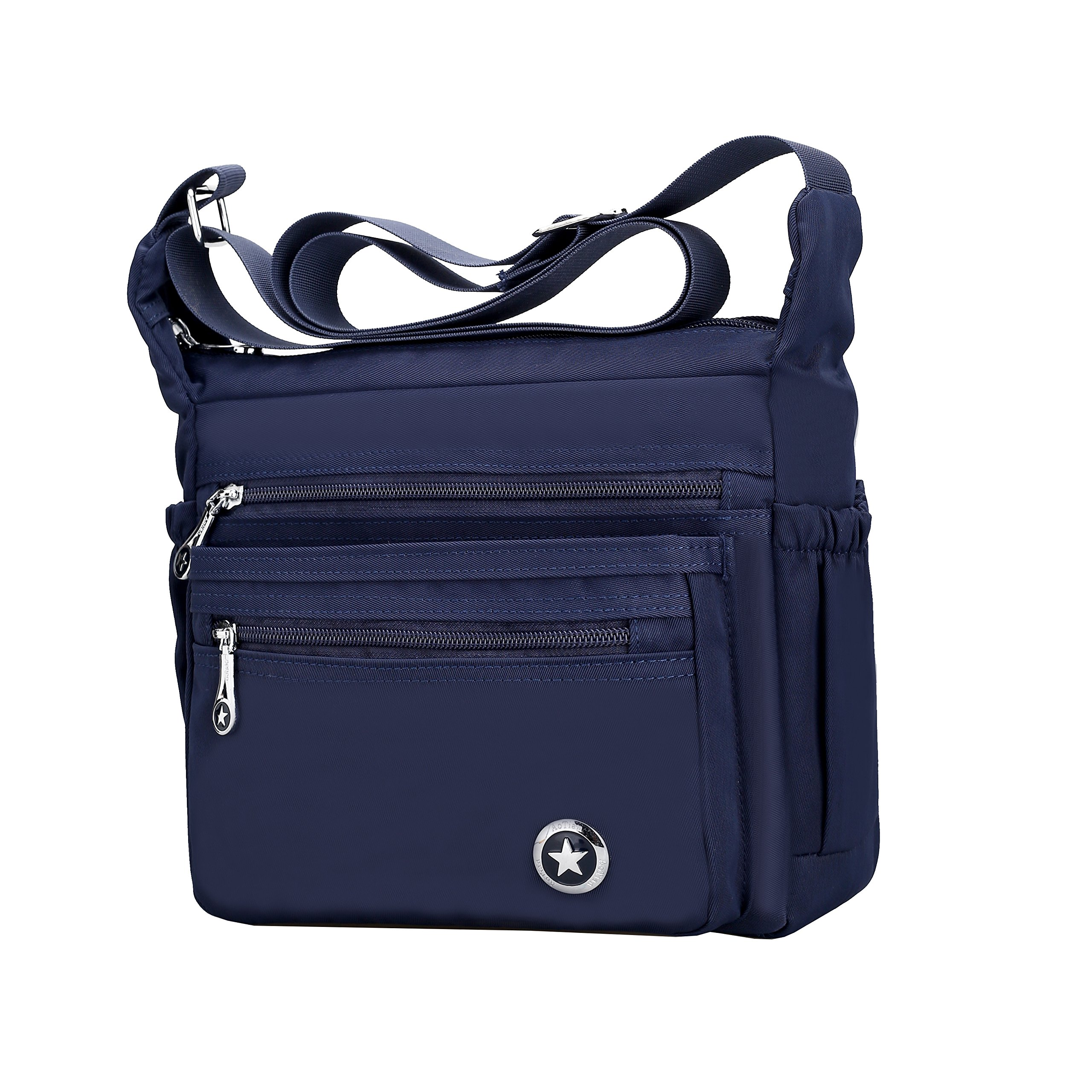 Fabuxry Shoulder Bag for Women Casual Messenger Bags Nylon Handbags Purses Cross Body Bags (Navy)