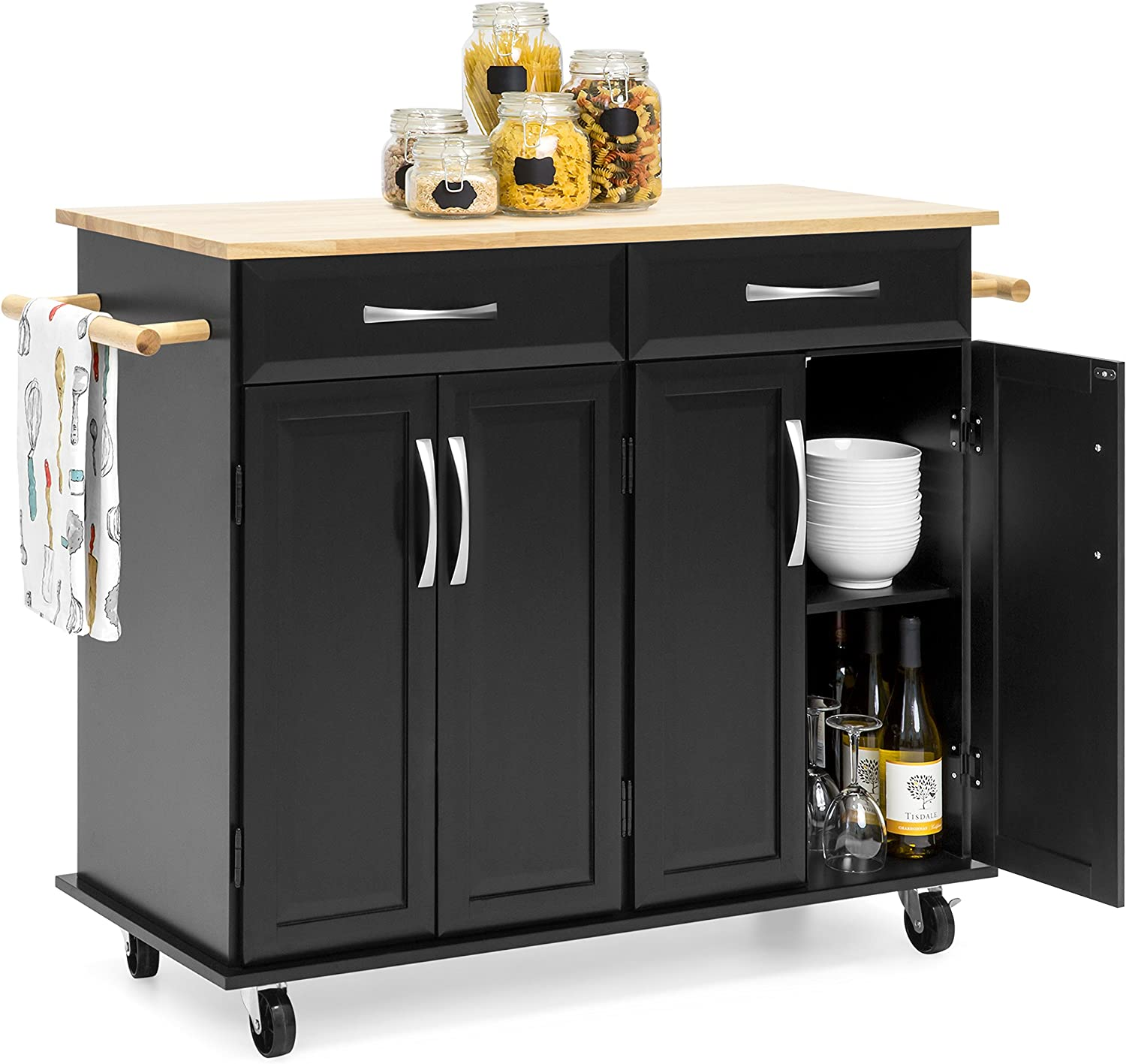 Amazon Com Best Choice Products Portable Kitchen Island Cart For Serving Storage Décor W Wood Top 2 Towel Racks Drawers Cabinets Adjustable Shelves Black Kitchen Islands Carts
