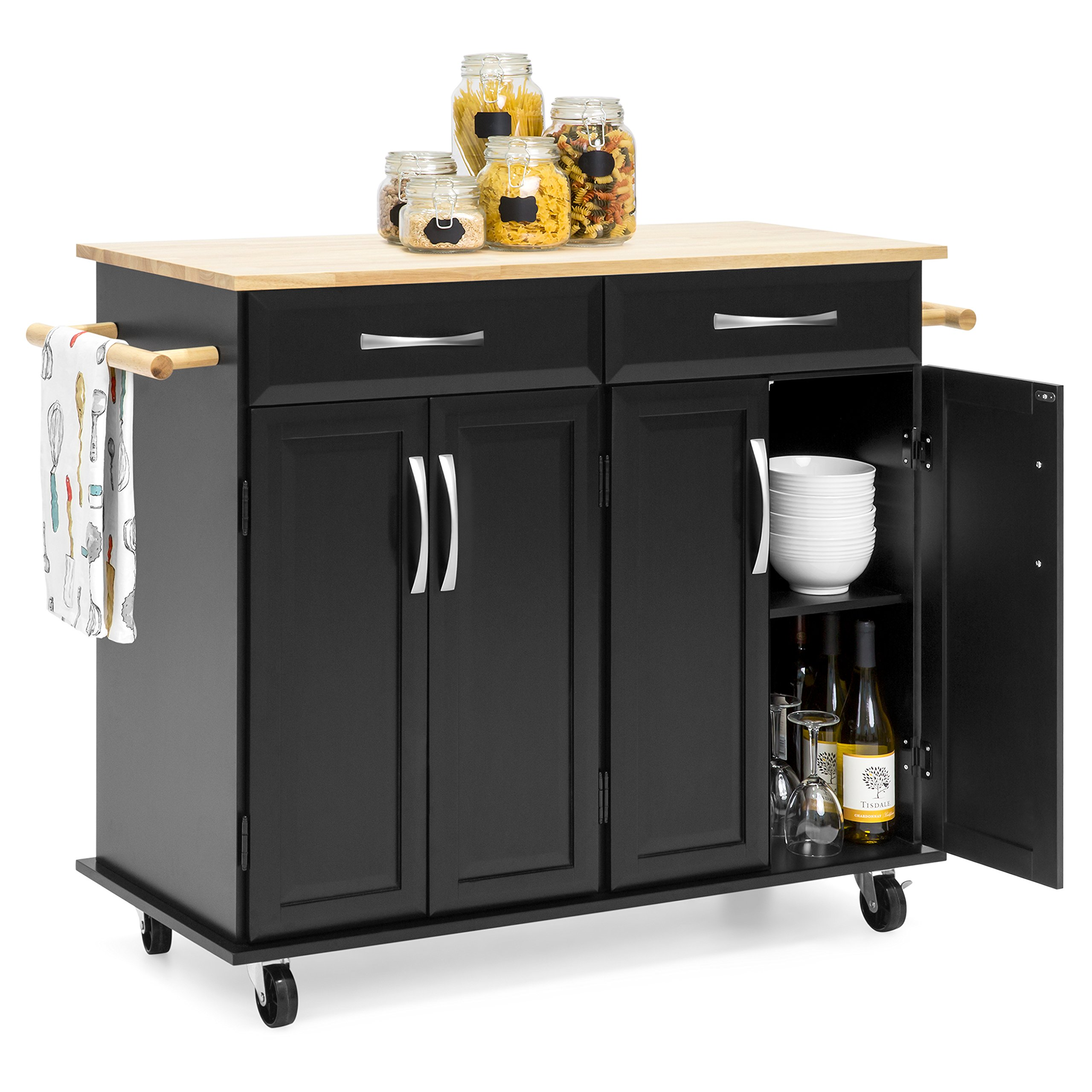 Best Choice Products Portable Kitchen Island Cart w/Wood Top, 2 Towel Racks, Drawers & Cabinets w/Adjustable Shelves