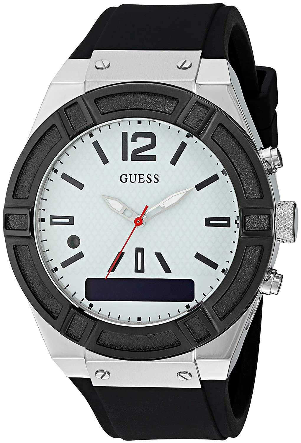 GUESS Womens CONNECT Smartwatch with Amazon Alexa and Silicone Strap Buckle - iOS and Android Compatible - Silver