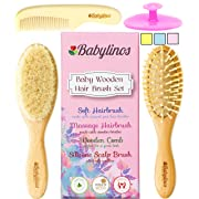 4 Piece Baby Hair Brush Set, Baby Girl Gifts with Natural Hair Products: Baby Brush, Cradle Cap Brush and Baby Comb Baby Essentials or Baby Registry for Baby Shower Gift Set for Newborn or Toddler