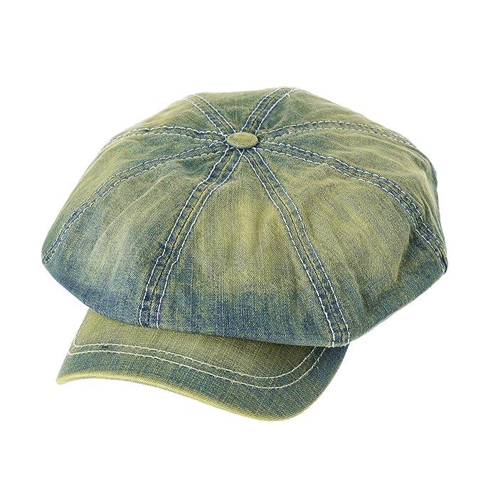 WITHMOONS Coppola Cappello Irish Gatsby Bakerboy Flat Cap Stitchy Beret  Washed Denim Hat NC3696 (Lightblue)  Amazon.it  Abbigliamento 305188e747d0