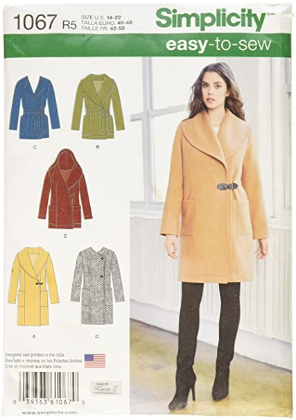SIMPLICITY 1067 Misses Easy-To-Sew Jacket or Coat Sewing Template, Size