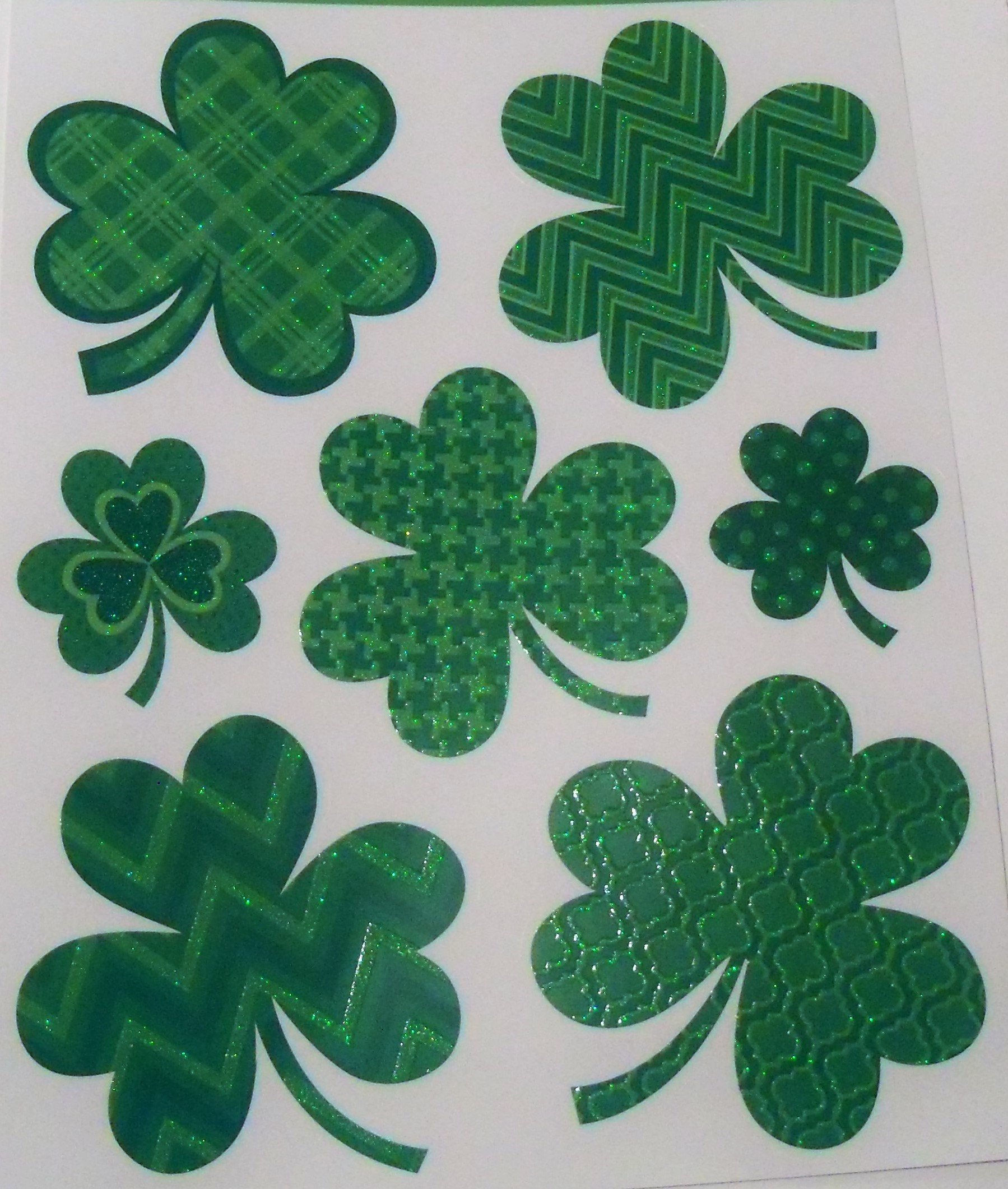 St. Patrick's Day Reusable Glitter Window Clings ~ Patterned Shamrocks (7 Clings, 1 Sheet)