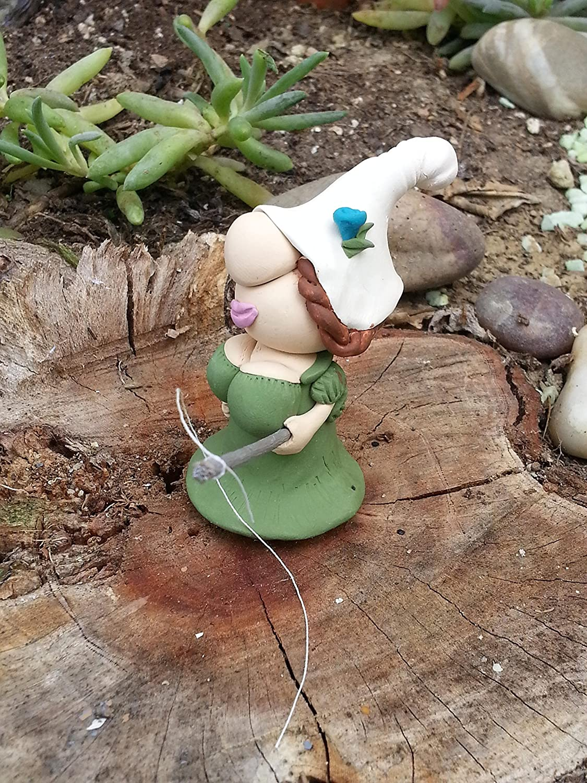 Handmade Mini Girl Gnome with Fishing Pole for Fairy Garden