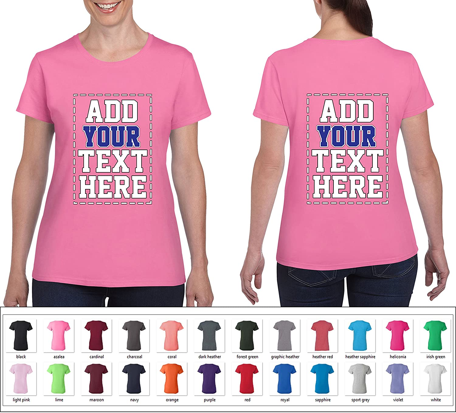 Amazon Custom 2 Sided T Shirts For Women Design Your Own