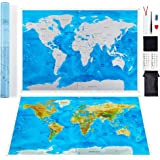 LETO TG Scratch Off World Map by Personalised Travel Tracker Poster - Blue & White with US States, World Countries + Tools for Easy Erasure - Perfect Gift for Travelers, Interior Decoration