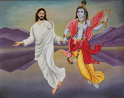 Jesus Christ & Lord Krishna Painting Handmade Christian Hindu Oil on