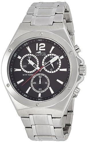 Lotus 10118/4 - Reloj cronógrafo de cuarzo para hombre con correa de acero inoxidable, color plateado: Lotus: Amazon.es: Relojes