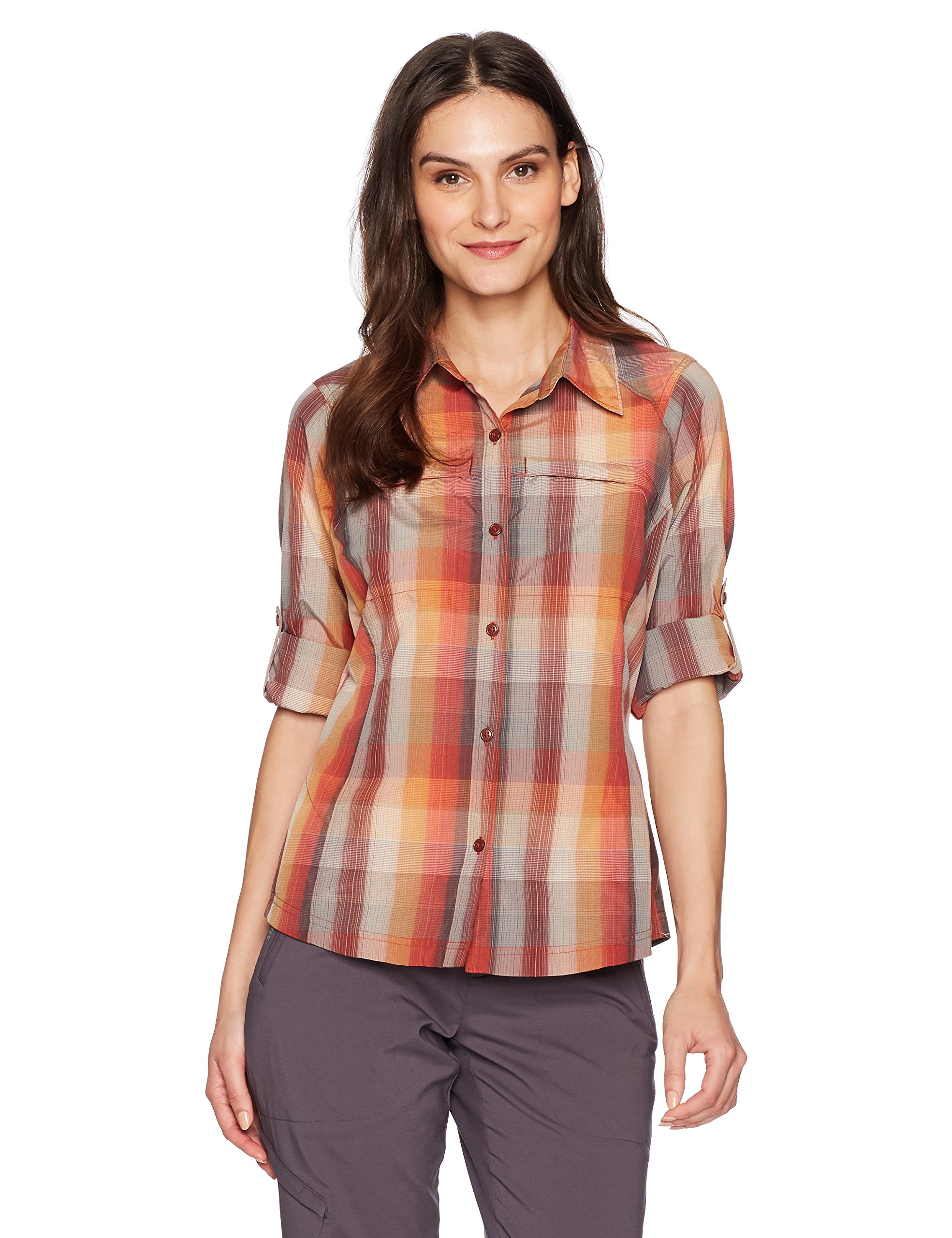 Columbia Silver Ridge Plaid Long Sleeve Shirt, Sail Red Ombre Plaid, X-Large by Columbia