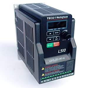 Teco Variable Frequency Drive, 1 HP, 230 Volts 1 Phase Input, 230 Volts 3 Phase Output, L510-201-H1-N, VFD Inverter for AC motor control