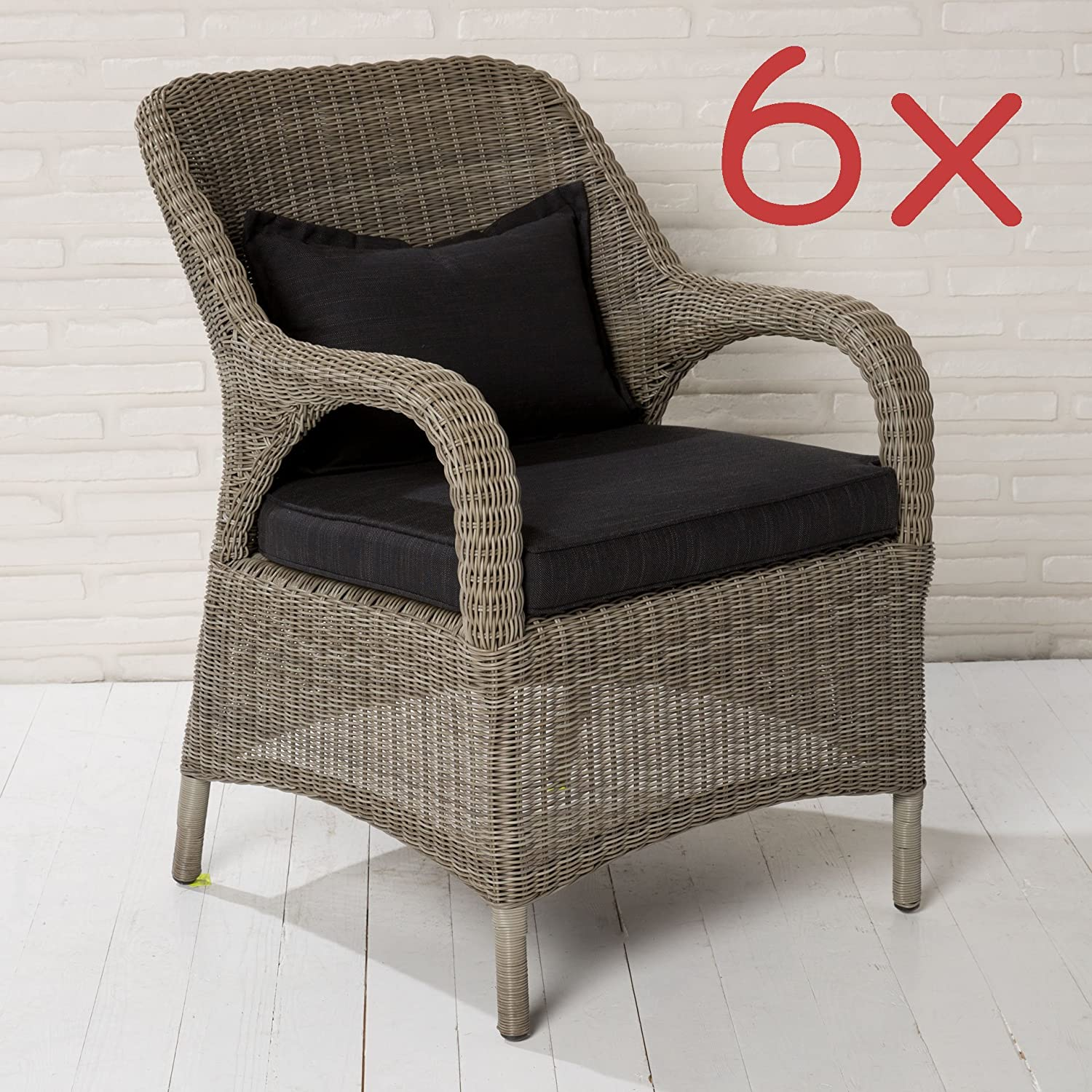 6x gartenstuhl gartensessel poly rattan braun mit sitzkissen gartenm bel stuhl online bestellen. Black Bedroom Furniture Sets. Home Design Ideas