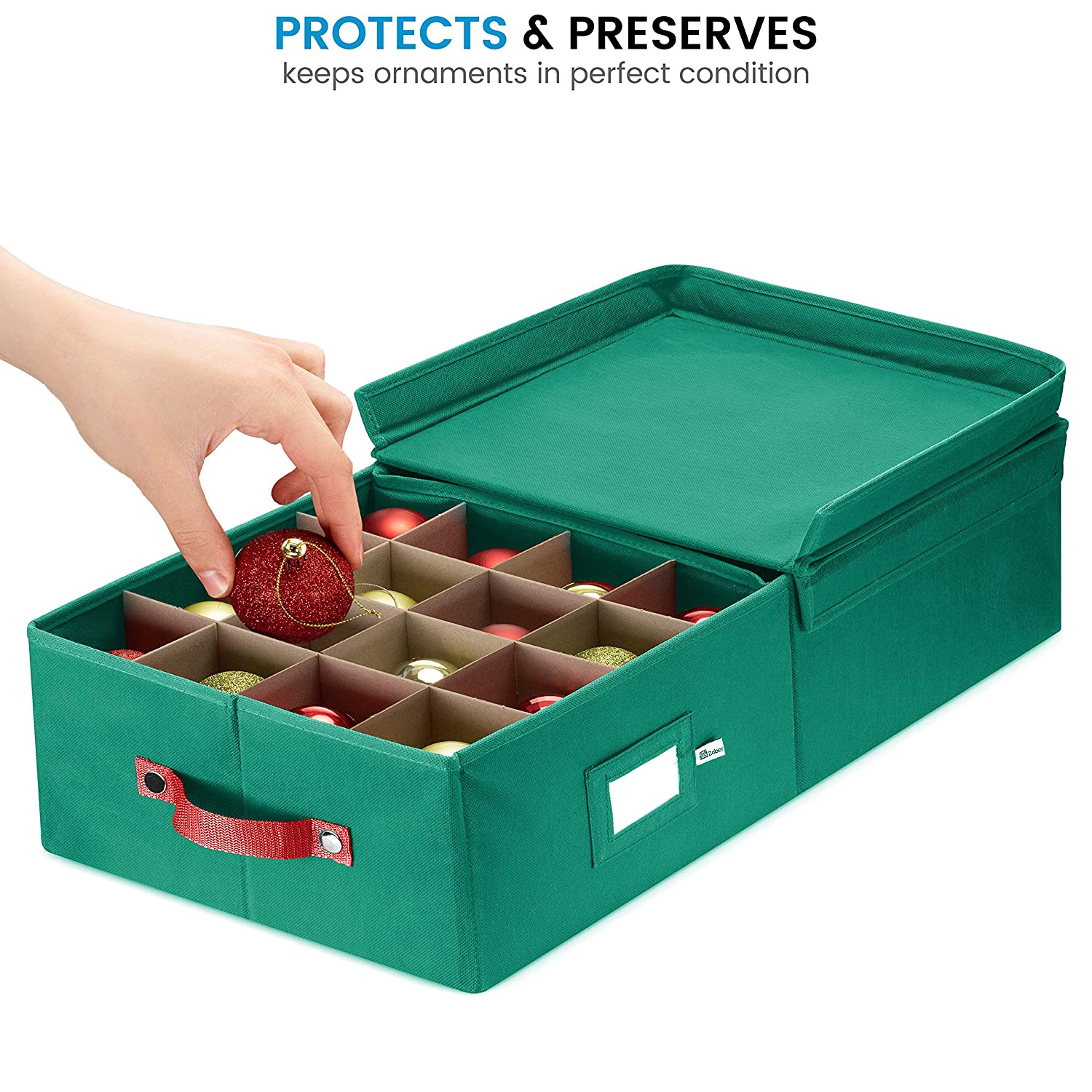 with Lid Holds up To 64 Standard Round Christmas Ornaments
