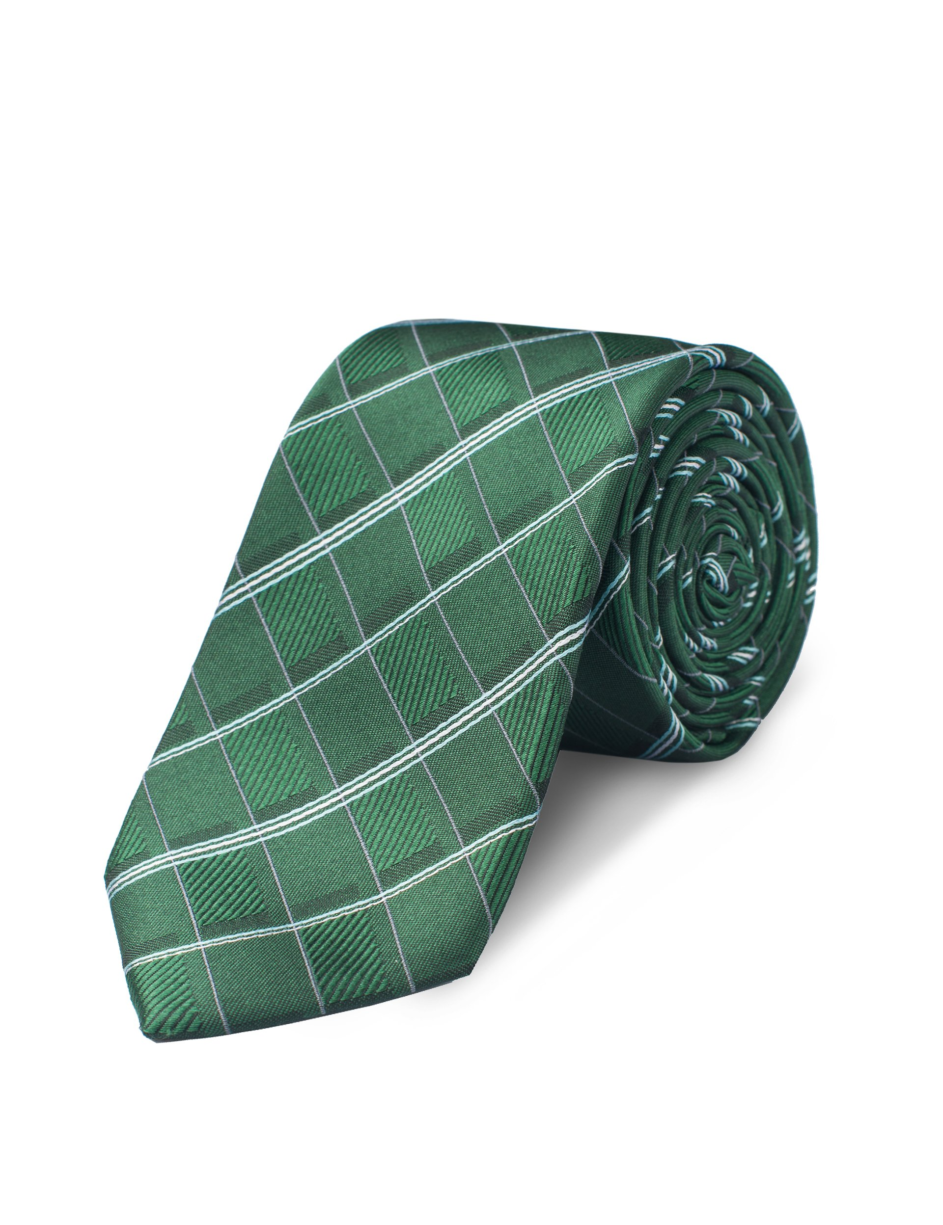 ORIGIN TIES Men's Fashion Silk Stripes 2.5 inches Skinny Tie Green