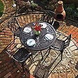 Lazy Susan - ALICE 120 cm Runder Gartentisch mit 4 Stühlen - Gartenmöbel Set aus Metall, Antik Bronze (APRIL Stühle)