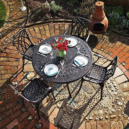 Lazy Susan - Table ronde 120 cm ALICE et 4 chaises de jardin - Salon ...