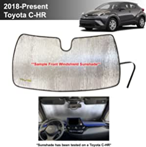 YelloPro Custom Fit Automotive Reflective Front Windshield Sunshade Accessories UV Reflector Sun Protection for 2018 2019 2020 Toyota CH-R CHR XLE, XLE Premium CUV