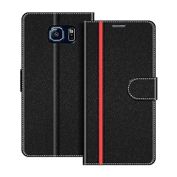 COODIO Funda Samsung Galaxy S6 con Tapa, Funda Movil Samsung S6, Funda Libro Galaxy S6 Carcasa Magnético Funda para Samsung Galaxy S6, Negro/Rojo