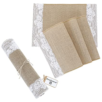 Amazon Com Zoraselena Table Runners With Placemats Set Burlap Table