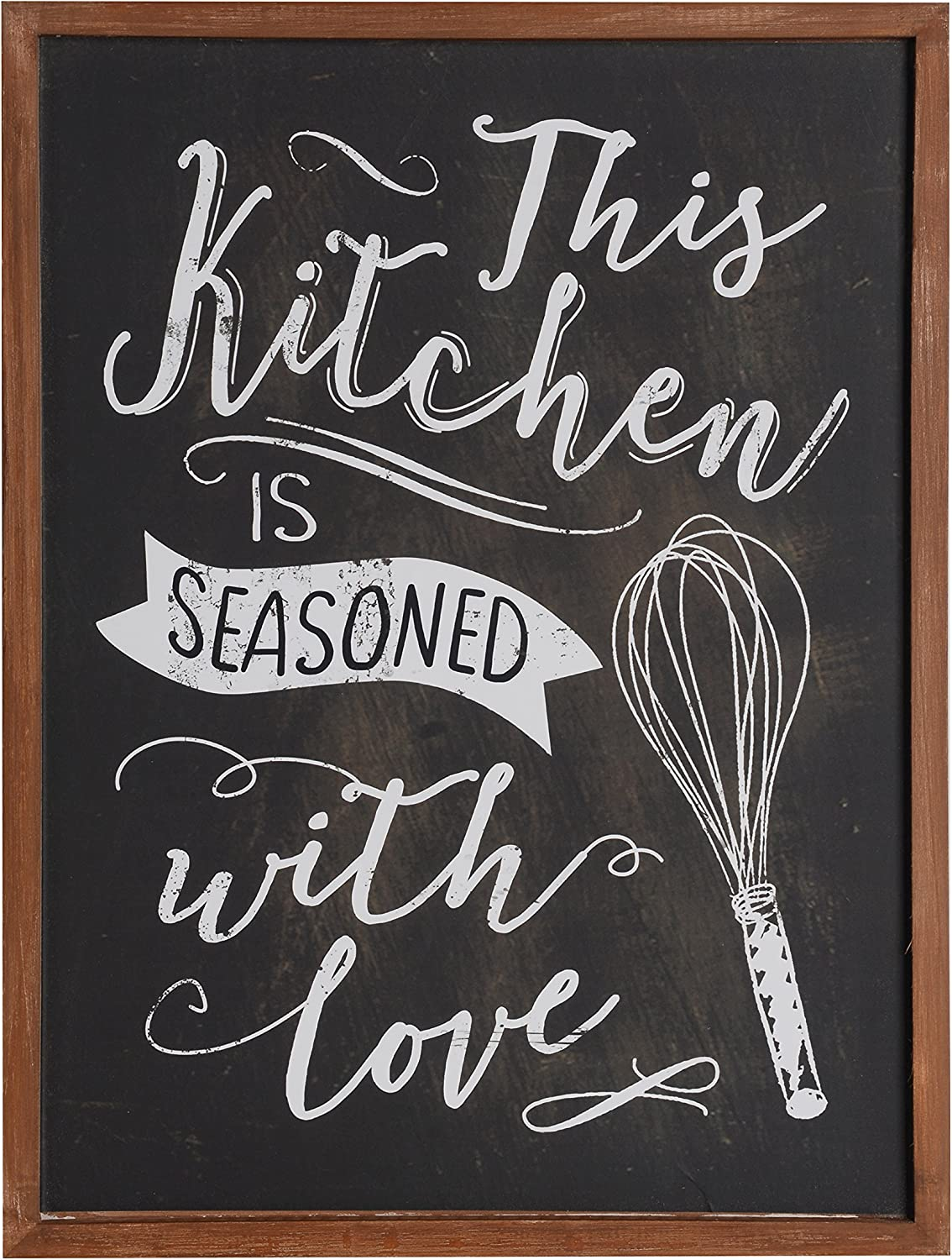 Amazon Com Nikky Home Kitchen Wall Art Decor Wood Framed Chalkboard Poster Print With Quote This Kitchen Is Seasoned With Love 16 X 12 Black Posters Prints
