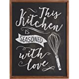 NIKKY HOME Wood Framed Chalkboard Kitchen Wall Art Poster Print with Quote This Kitchen is Seasoned with Love, 16'' x 12'', Black