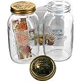 Bormioli Quattro Stagioni - Set da 2 vasetti in vetro per conserva con chiusura a leva, capacità: 1,5 litri, libro di ricette Bormioli incluso