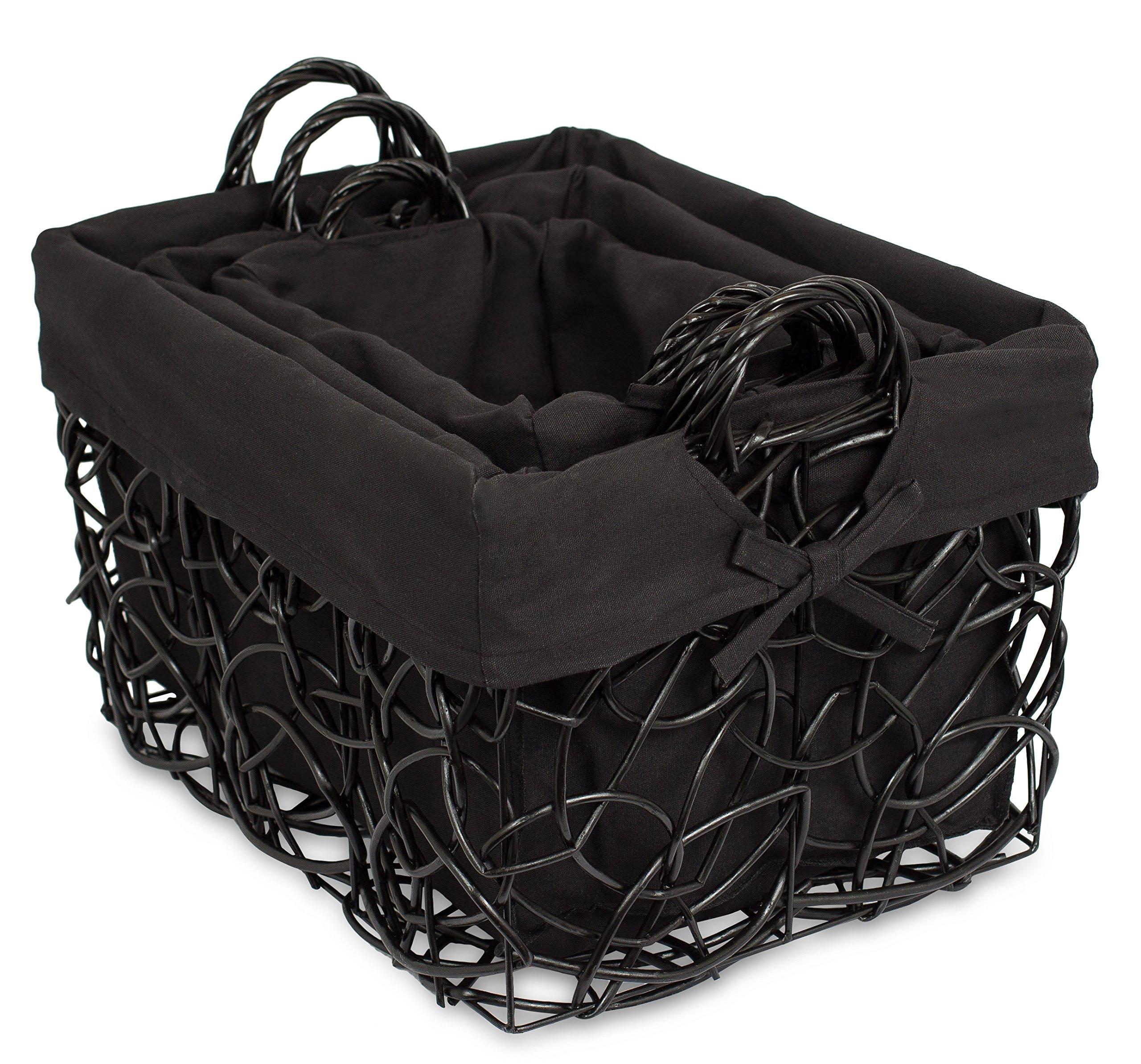 BirdRock Home Decorative Willow Basket Set with Liner | Set of 3 | Double Handle Wooden Basket | Rectangular Wicker Storage Bin | Black