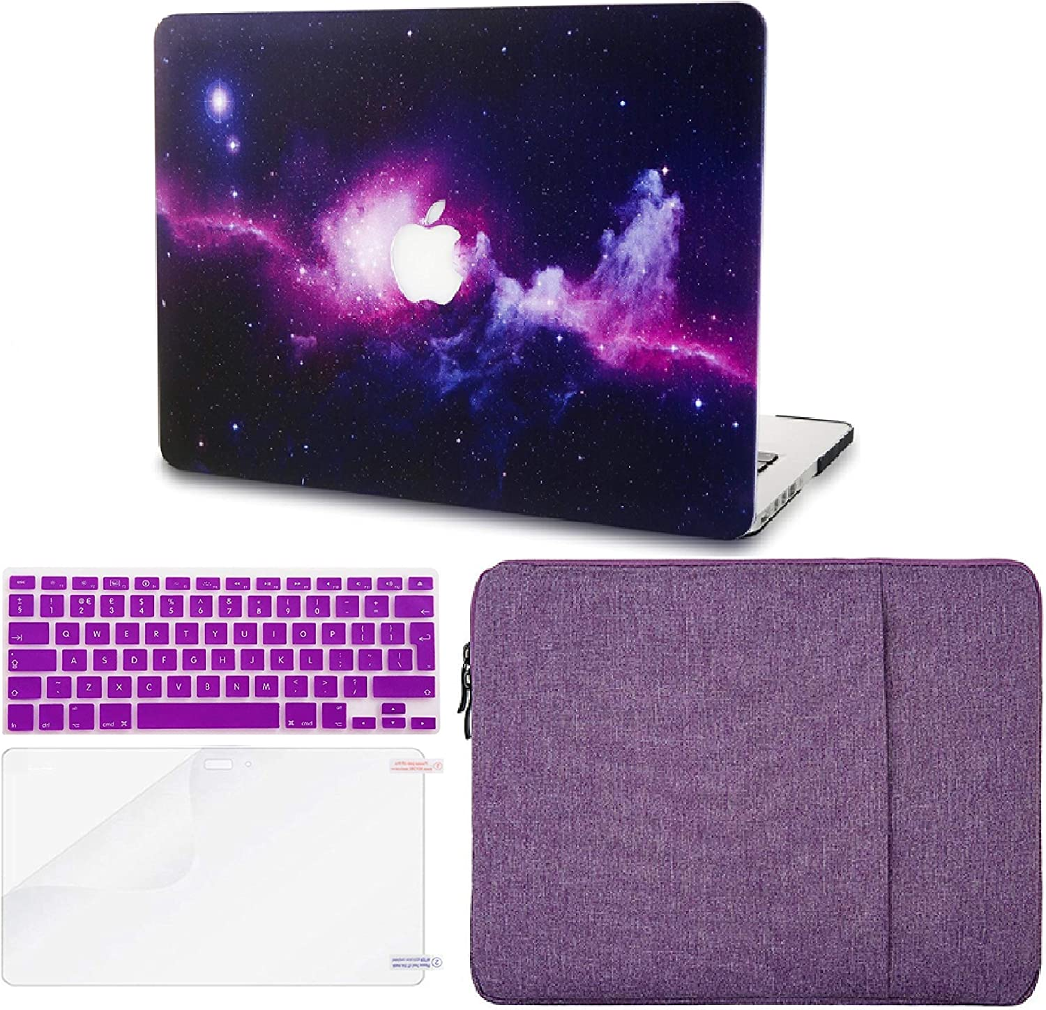 "KECC Laptop Case for MacBook Air 13"" Retina (2020/2019/2018, Touch ID) w/Keyboard Cover + Sleeve + Screen Protector (4 in 1 Bundle) Plastic Hard Shell Case A1932 (Purple)"