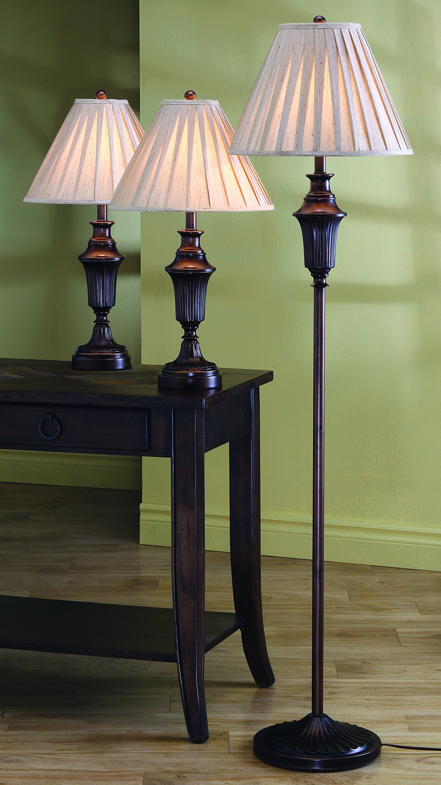 2 Table Lamps and 1 Floor Lamp Dark Brown Finish 3 Piece ...