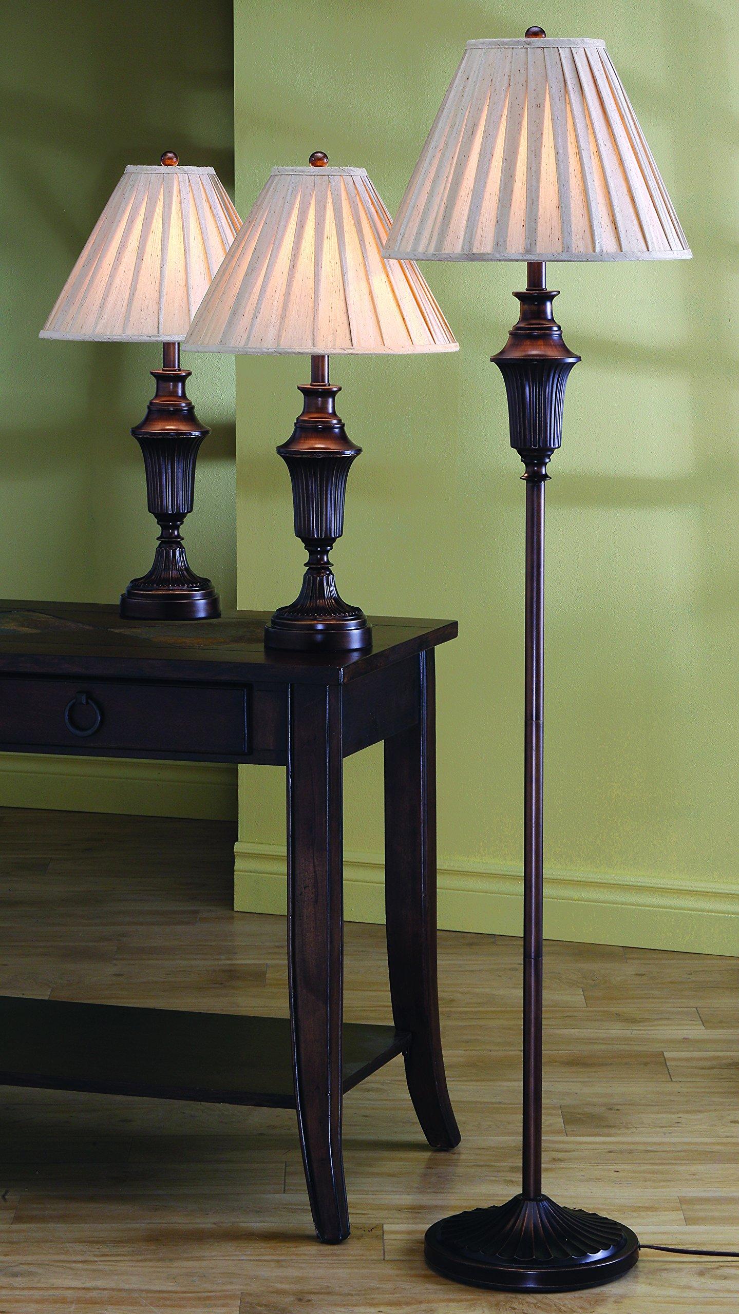 2 table lamps and 1 floor lamp dark brown finish 3 piece set living room lights ebay. Black Bedroom Furniture Sets. Home Design Ideas