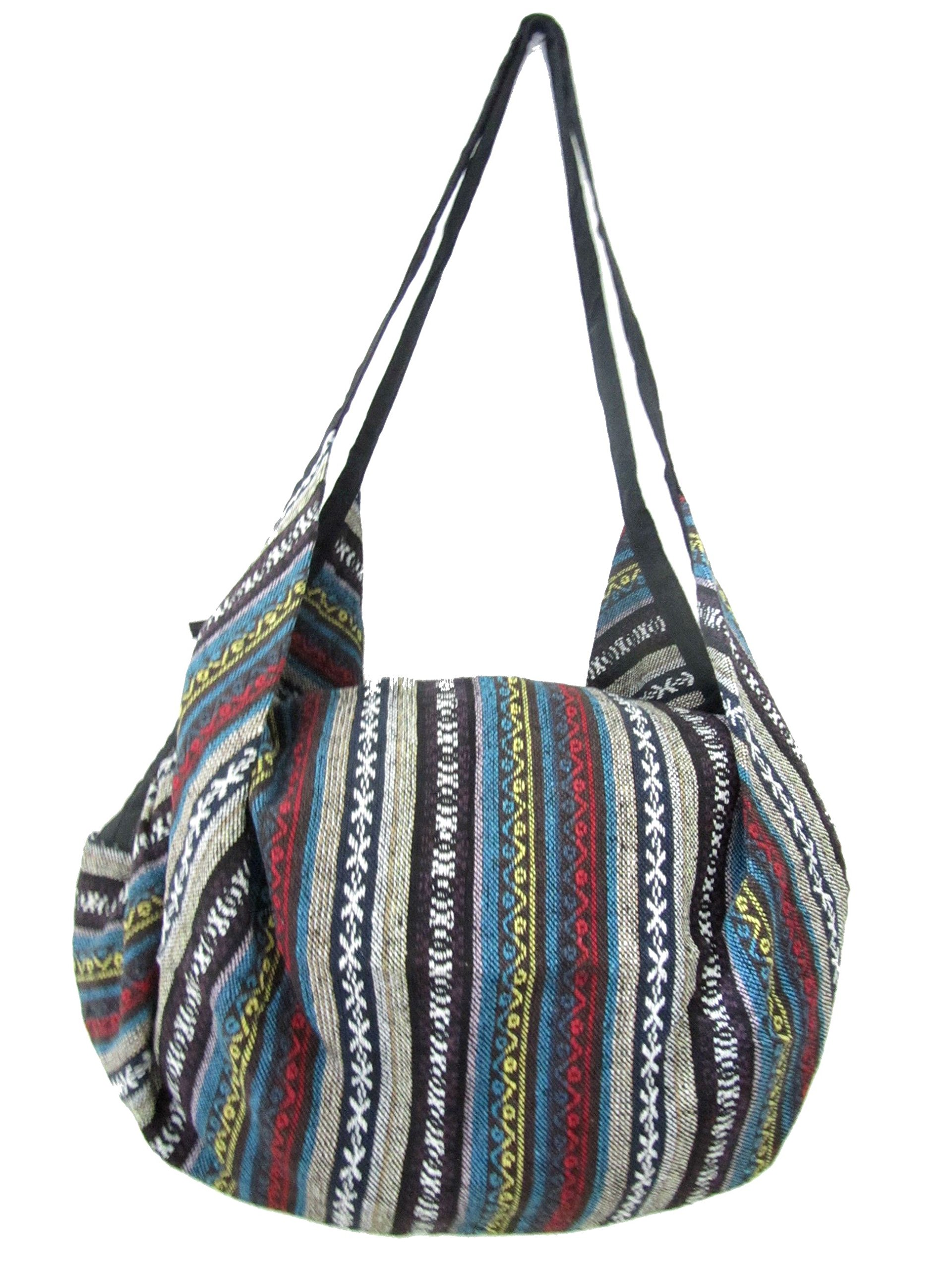 Large Aztec Yoga Convertible Crossbody Backpack Hippie Hobo Sling Bohemian Shoulder Bag (Navajo)