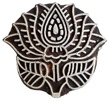 Amazoncom Lotus Flower Rare Carving Wood Craft Blockstamp Textile