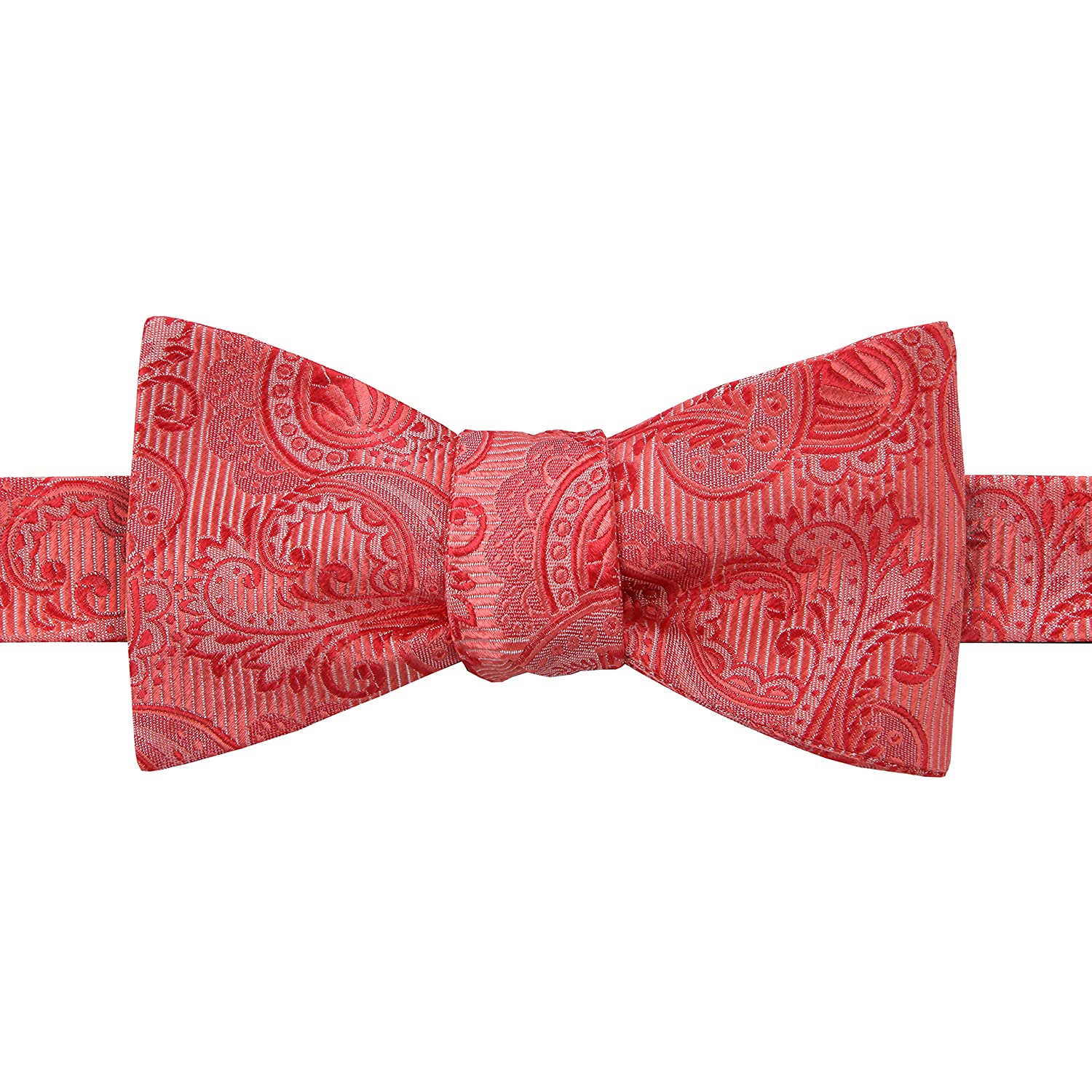 Coral Paisley Pink Wedding Collection Bow Tie 100% Silk, Self Tie, Ideal for Groomsmen PC-BT-SILK-7
