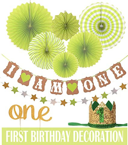 Amazon Com Green First Birthday Decoration Set For Girl Or Boy 1st