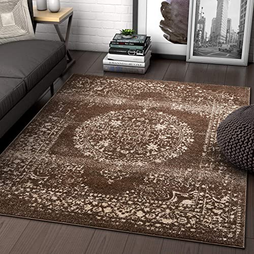 Well Woven Palmetto Medallion Brown Vintage Distressed Oriental Area Rug 9×13 9'3″ x 12'6″