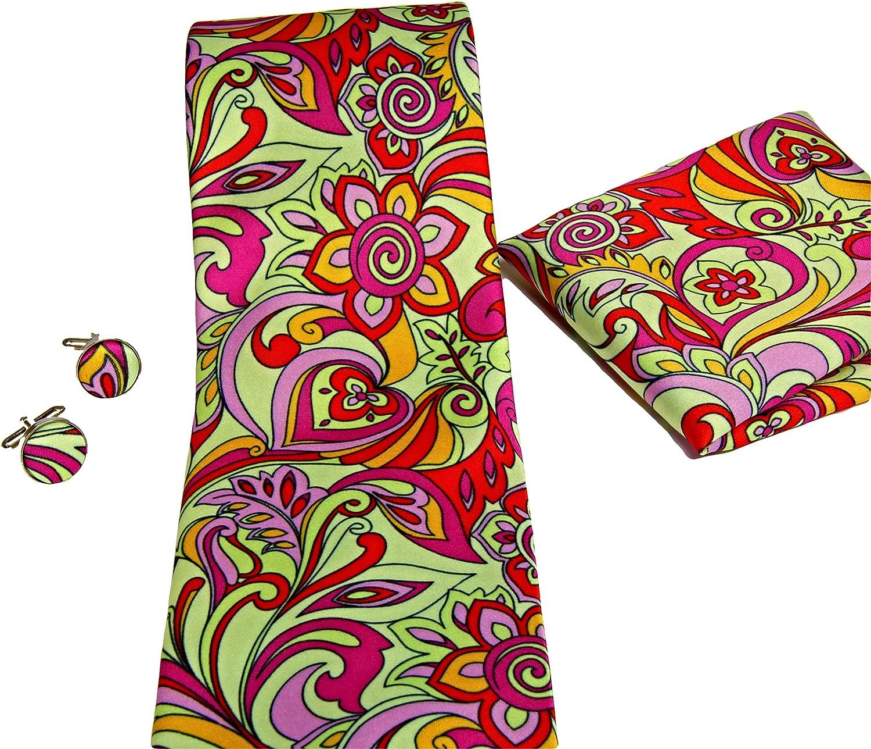 MONETTI Set Cravatta rosso//verde colorato 100/% seta nella scatola regalo