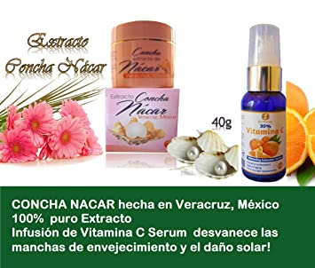 1 Jar Concha Extract Nacar made in Veracruz, Mexico + Infusion Vitamin C Serum