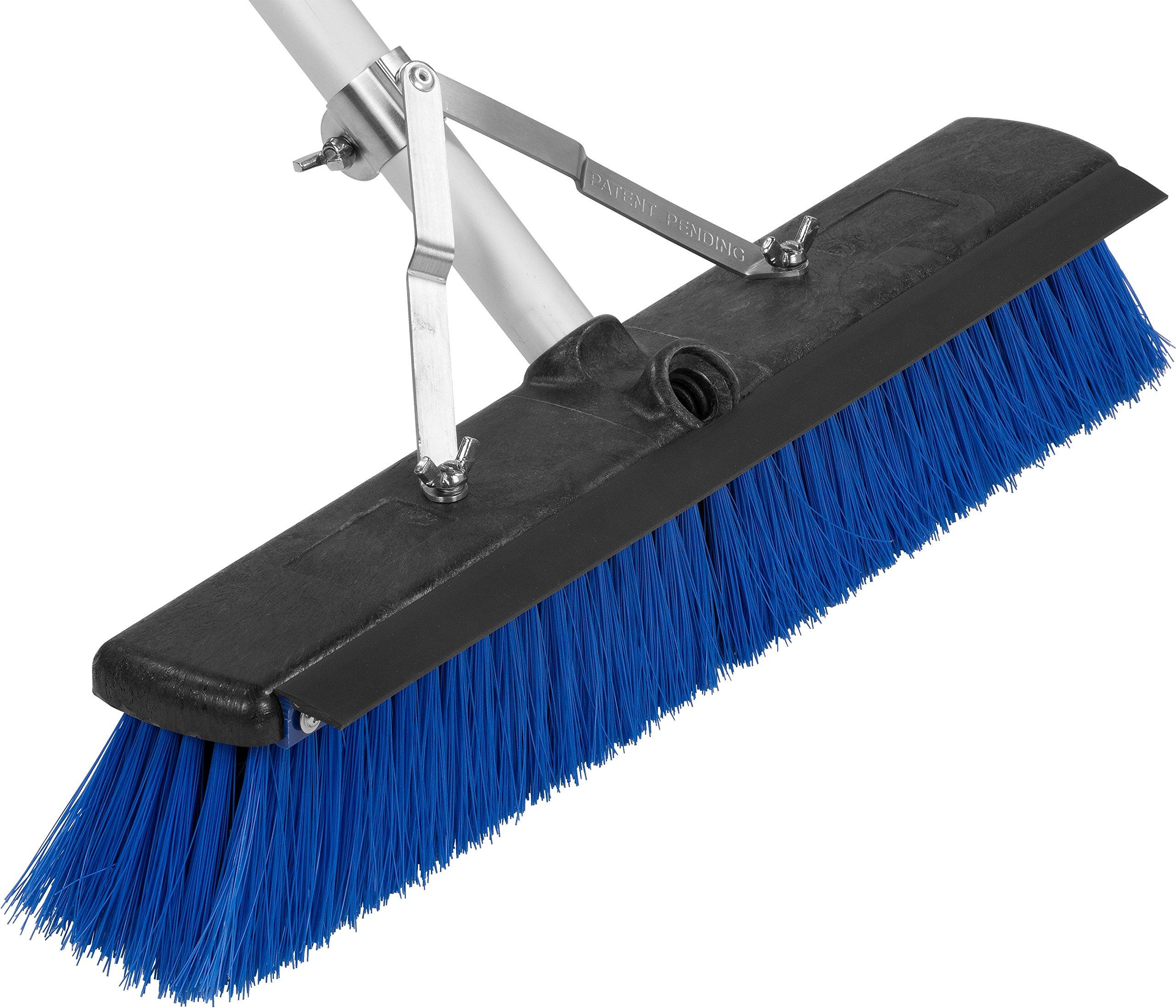 Carlisle 3621961814 Sweep Complete Aluminum Handle Floor Sweep with Squeegee, Plastic Bristles, 18'' Length, 3'' Bristle Trim, Blue