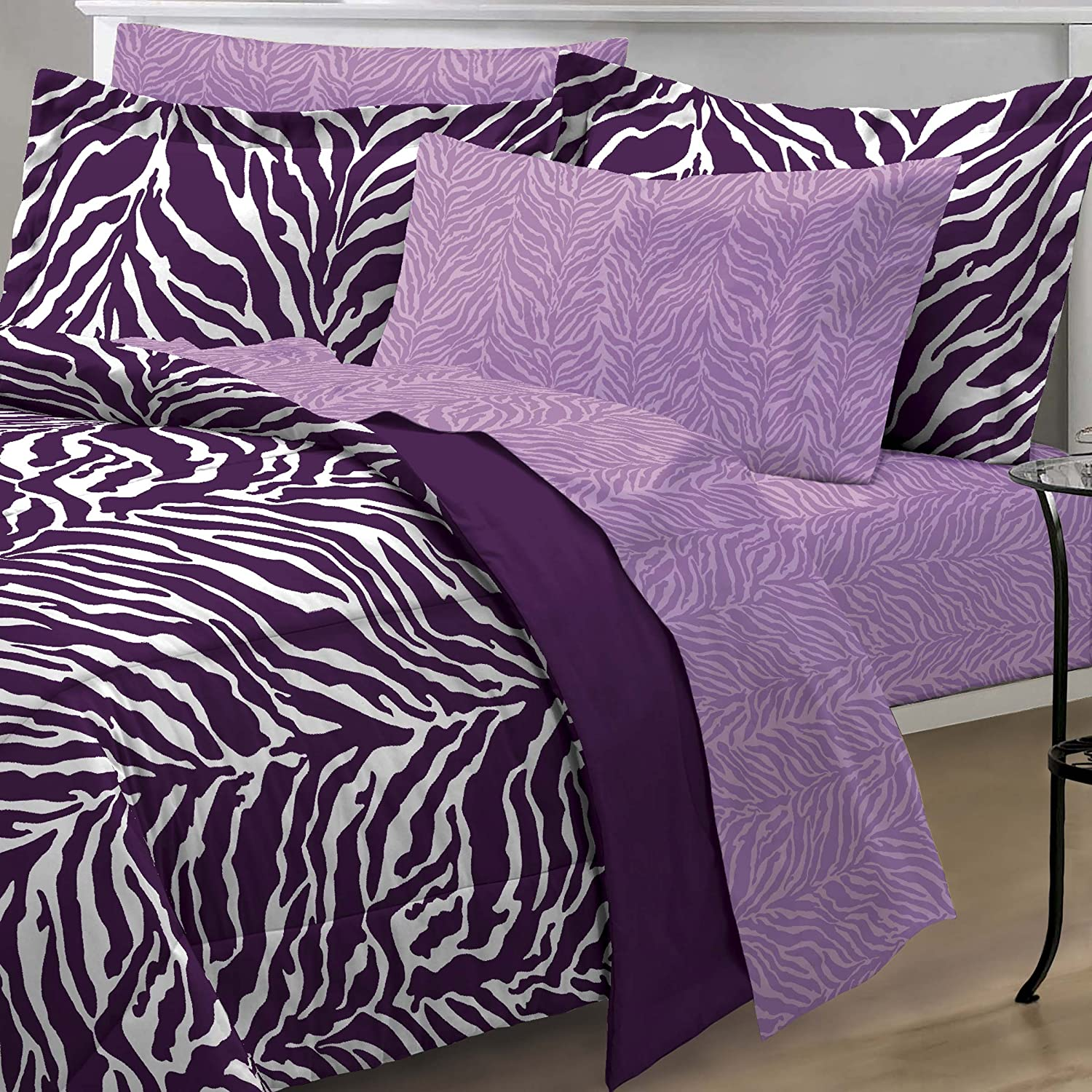 Cheap zebra print bedroom sets - Amazon Com My Room Zebra Purple Ultra Soft Microfiber Comforter Sheet Set Multi Colored Twin Twin X Large Home Kitchen