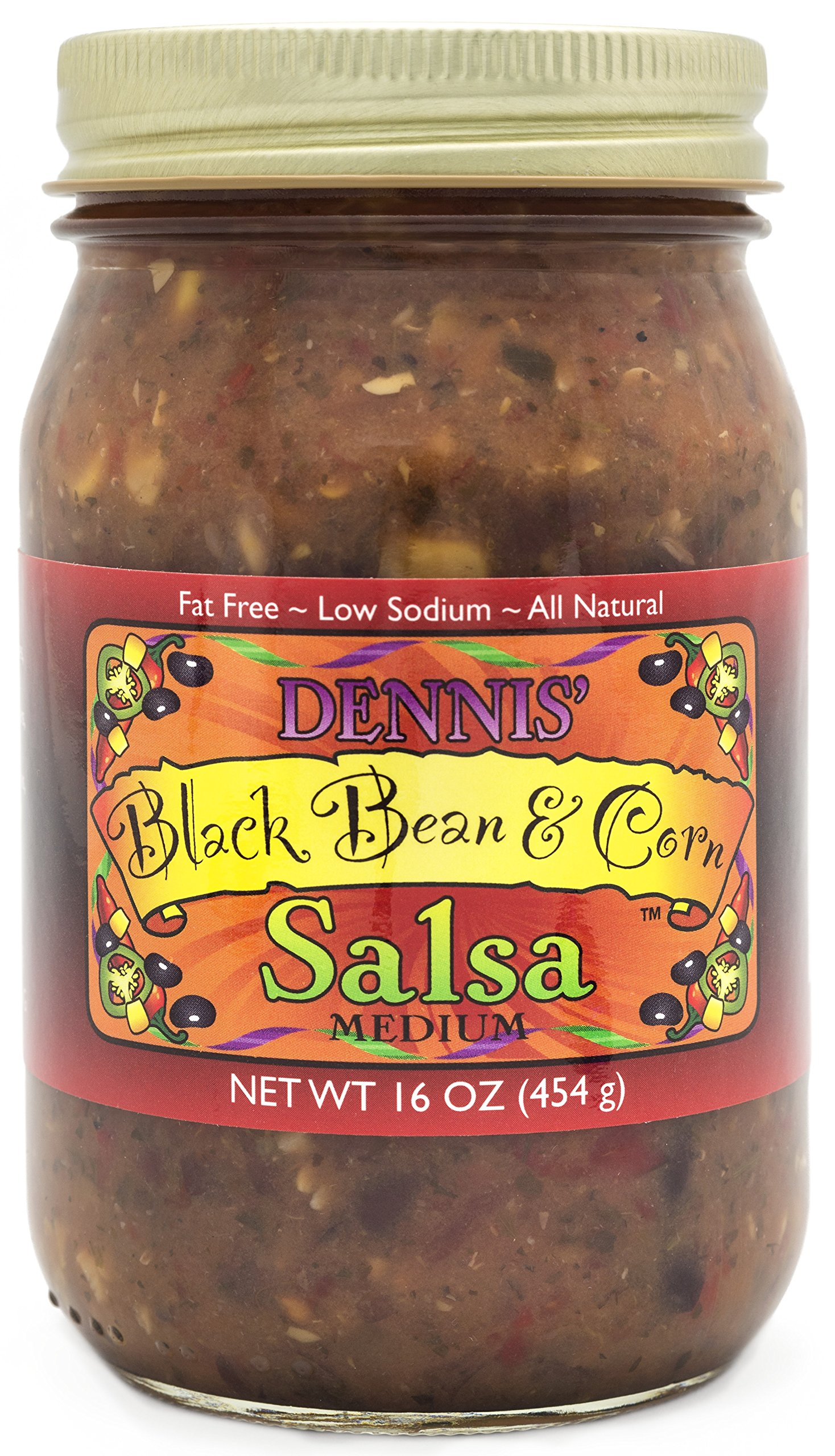 All-Natural Black Bean and Corn Salsa by Dennis' Gourmet | This Fresh, Hearty Restaurant Salsa is Low Sugar, Low Cal, Low Carb, Low Sodium, and Gluten Free! Includes (1) Large 16 oz Jar (Black Bean) by Dennis' Gourmet