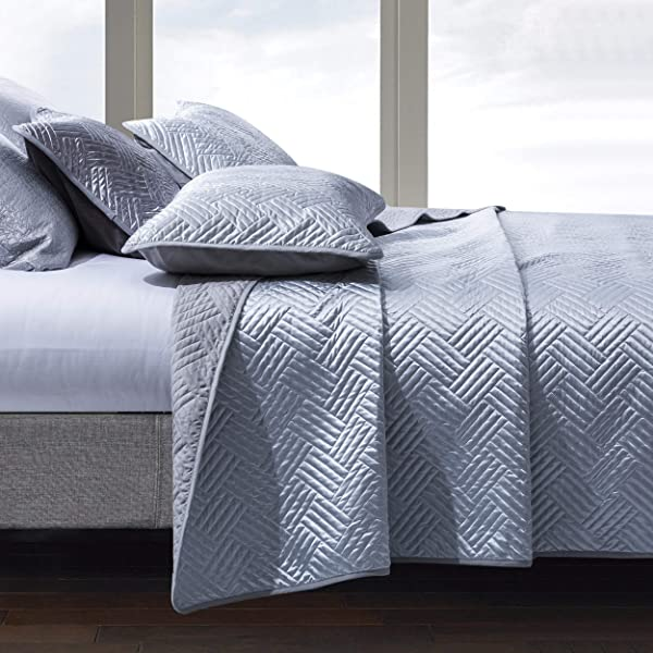 Natural 846339074837 Five Queens Court Saranda Satin Geometric Quilted Coverlet King